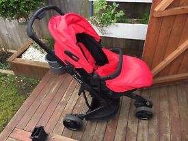 OBABY RED & BLACK CHASE 3 WHEEL TRAVEL SYSTEM PUSHCHAIR, CARSEAT
