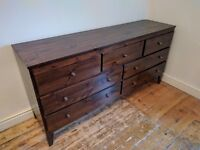 solid wood bed frame, chest of drawers bed side table