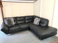 ~ Reid's luxury Black full leather ~ corner Sofa Suite