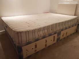 Double diwan bed with four drawers
