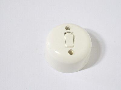 Art Déco Lichtschalter Ein/Aus weiß rund Aufputz 10 A 220 Volt