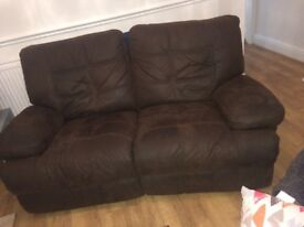 2seater brown recliner
