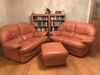 Leather Sofas and matching footstool