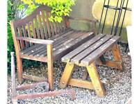 Weathered garden bench and table
