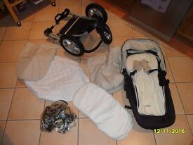 Mothercare MY3 Pram/Buggy in cream and black with matress, and rain cover.