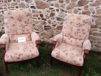 Pair of Cintique wood framed fireside chairs with beige floral upholstery