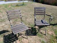 Garden chairs x 2 vintage antique