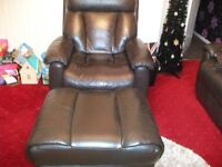 LAZY BOY BROWN LEATHER CHAIR AND LARGE FOOT STOOL