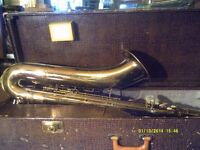 """PENSYLVANIA """" SPECIAL """" BARITONE SAXOPHONE VINTAGE SAX PLAYS VERY WELL and CASE."""