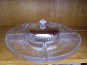glass serving set with silver lid