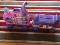 Vtech push & ride alphabet train & trailer pink