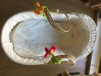 Hardly Used White Moses Basket with Rocking Stand