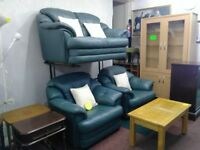 Teal Blue Leather Suite (3+1+1)