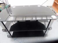Gloss Black Glass TV Stand for LED, LCD, Plasma, Curved TVs, (80cm, Black with Cable Management)