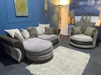 Gorgeous grey/brown/mink 3 tone cord suite 3 seater chaise and swivel seat