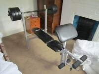 Weights bench with 30kg weights