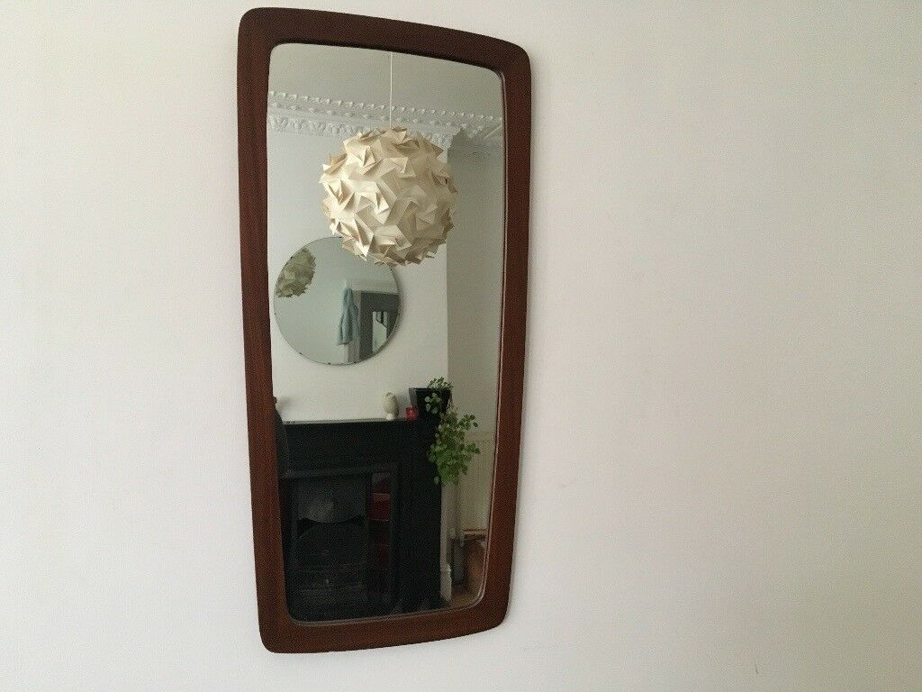 Mid Century Vintage Danish Style Afromosia Tapered Wall Mirror