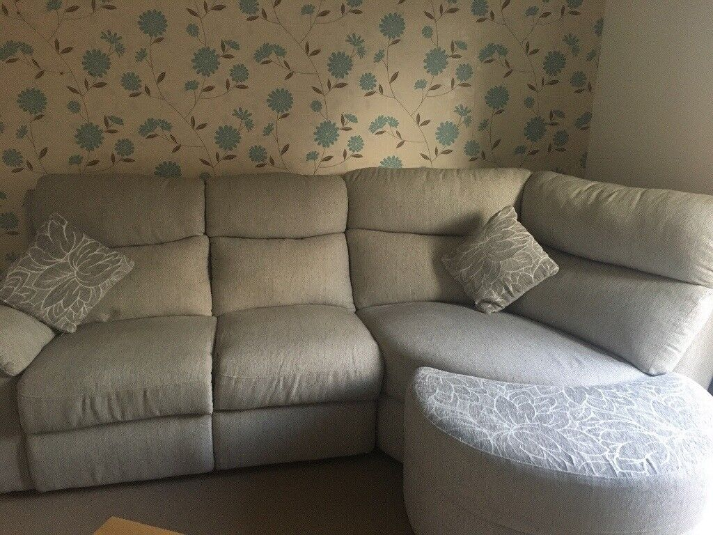 Light Grey Beige Corner Sofa With Half Moon Footstool In