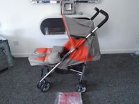 Brand new lie flat umberella buggy with matching footmuff & raincover
