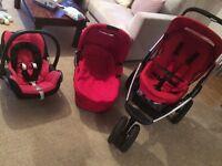 Maxi Cosi Mura travel system in red pram pushchair car seat