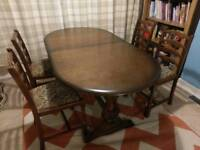 Priory oak extending dining table and 4 chairs