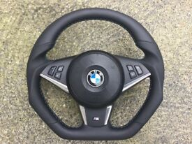 BMW M5 M6 E60 E61 E63 E64 LCI NEW CUSTOM MADE FLAT BOTTOM STEERING WHEEL