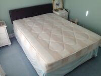 "Double bed (4ft6"") Mattress, Brown Headboard. from clean,smoke and pet free home."