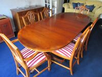 YEW TABLE & 6 CHAIRS PRINCE OF WALES