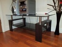 Table and stereo for sale, black glass table, minidisc recording stereo with 6 cd changer.