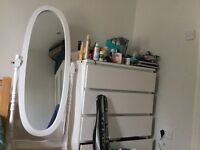 Tall Standing White Mirror with Pivot 30£
