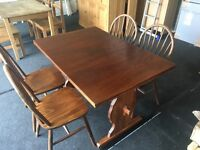 Solid darkwood extending table and 4 chairs (FREE DELIVERY)