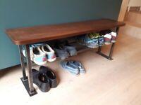 Modern hallway bench with shoe rack