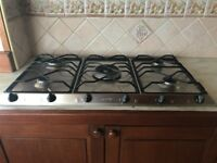 Smeg 5 burner gas Hob with new boxed cast Iron pot holders