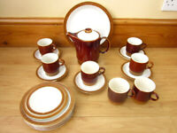 Vintage Mid Century Poole Chestnut Brown Tea Set