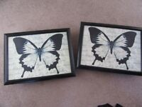 PAIR OF PADDED BEANBAG LAP TRAYS BLACK WITH BUTTERFLY DESIGN