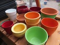 11 Assorted Ceramic/Earthenware Plant Pots