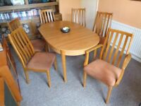 Vintage/Retro, Teak Ext. Dining Table & 6 Chairs