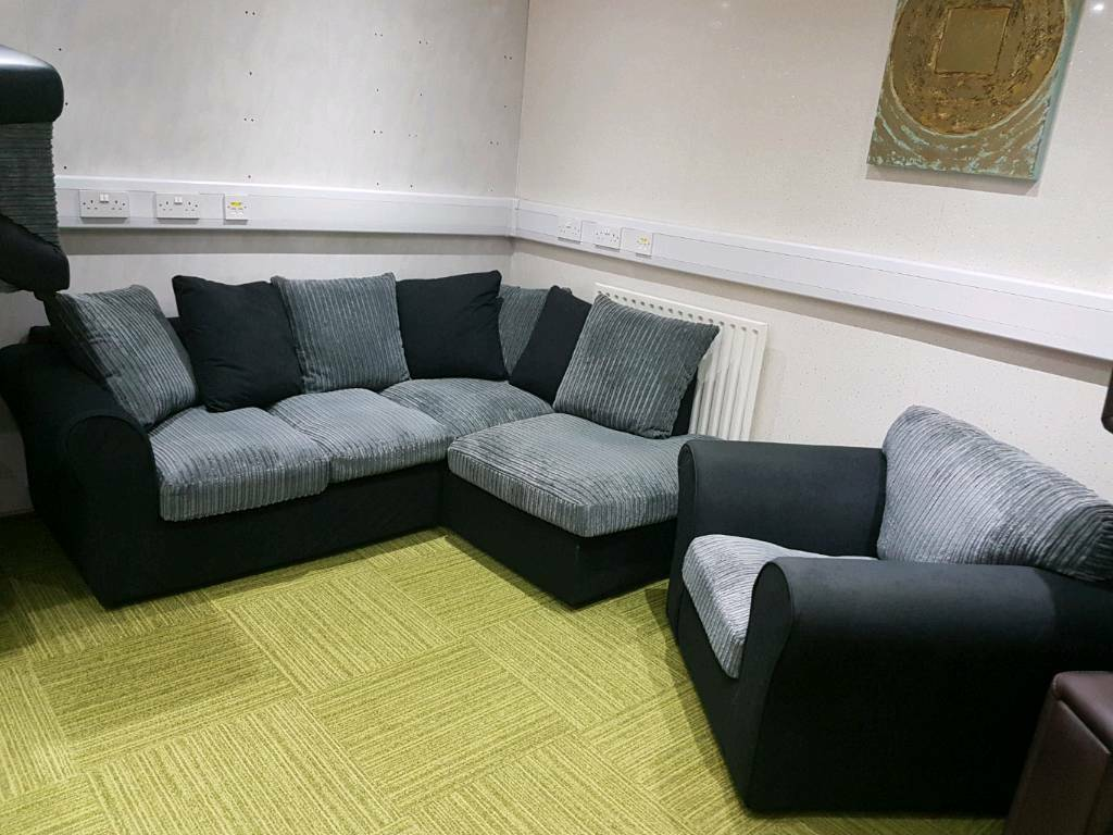 NEW Stunning Black And Grey Corner Suite With Armchair