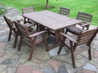 Hardwood garden table and six chairs