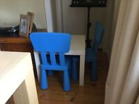 IKEA LACK TABLE AND 2 BLUE CHILDREN'S CHAIRS
