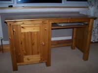 Solid pine desk with slide out shelf