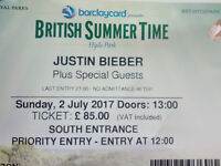2 Priority Entry tickets to Justin Bieber Plus Special Guests BST Hyde Park 2 July
