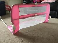 Mothercare pink adjustable children's bed guard