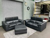 (Purchased) Beautiful black leather DFS sofa set delivery 🚚 sofa suite couch furniture