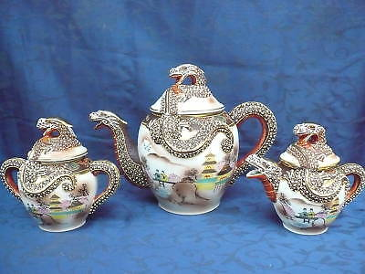 Pretty Tea Set ___ Japan __ Motivational Painting Dragons Coronation