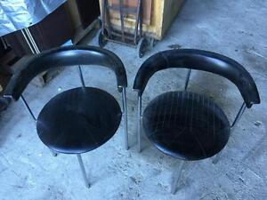 Retro 70's Chairs - Black & Chrome - Set of 2