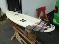 Adams TD5 6,2 x 20.5 x 2.5 Surfboard - 5 Fin Futures - Wilko Tailpad - Leash - Fins