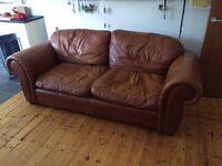 Large Laura Ashley Wakehurst 3 Seater Leather Sofa vintage COST over £1200 NEW