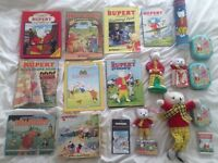 Rupert The Bear Collection Job Lot - Books, Toys, Puzzle, Tapes, Tins -21 items