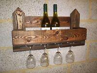 Rustic Wall Mounted Wine / Glass Rack !!!